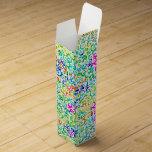 Cute colorful seamless flowers pattern wine box