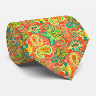 Cute colorful seamless paisley pattern tie