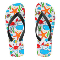 Cute Colorful See-life Illustration Pattern 2 Flip Flops