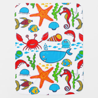 Cute Colorful See-life Illustration Pattern 2 Receiving Blanket