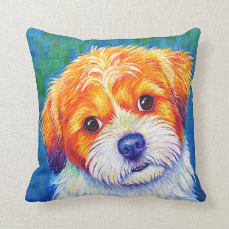 Cute Colorful Shih Tzu Dog Throw Pillow
