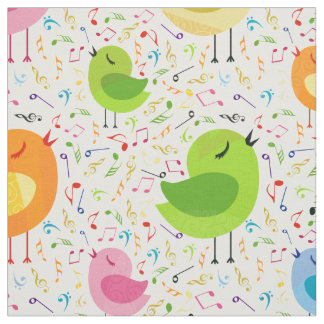 Cute Colorful Singing  Birds & Music Notes Pattern Fabric