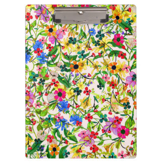 Cute colorful spring floral flowers clipboard