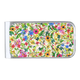 Cute colorful spring floral flowers silver finish money clip