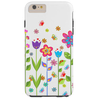 Cute Colorful Spring Flowers & Butterflies Tough iPhone 6 Plus Case