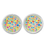 Cute colorful squares patterns cufflinks