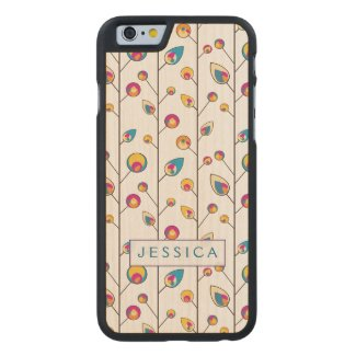 Cute Colorful Stylized Floral Pattern Carved® Maple iPhone 6 Case