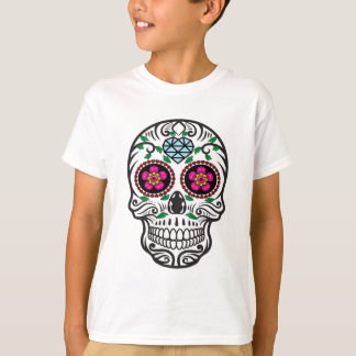 Cute Colorful Sugar Skull Dia de los Muertos T-Shirt