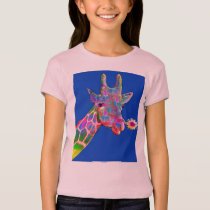 Cute Colorful Sunflower Giraffe T-Shirt