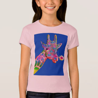 Cute Colorful Sunflower Giraffe T-Shirt