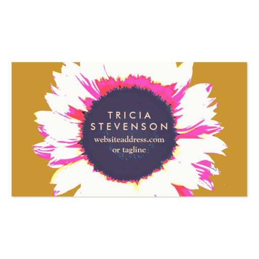Cute Colorful SunFlower Logo Girly Floral Double-Sided Standard Business Cards (Pack Of 100)
