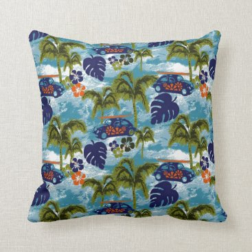 Beach Themed Cute Colorful Surf Waves Hawaii Pattern Throw Pillow