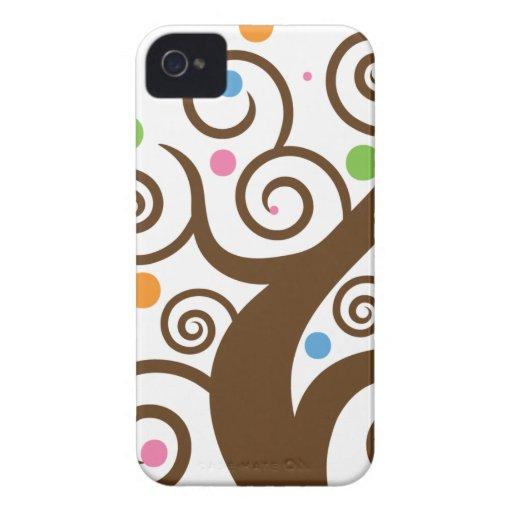 Cute Colorful Swirl Tree iPhone 4 Case