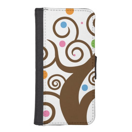 Cute Colorful Swirl Tree iPhone 5 Wallet Cases