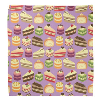 Cute & Colorful Tea Cakes Illustrated Pattern Bandana