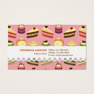 Cute Colorful Tea Cakes Illustration Pattern Business Card
