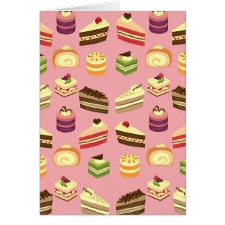 Cute Colorful Tea Cakes Illustration Pattern Card