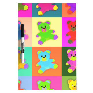 CUTE COLORFUL TEDDY BEAR COLLECTION PATTERN SQUARE Dry-Erase WHITEBOARD