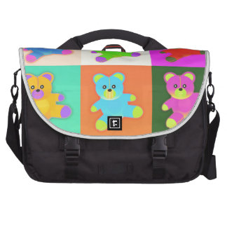 CUTE COLORFUL TEDDY BEAR COLLECTION PATTERN SQUARE LAPTOP MESSENGER BAG