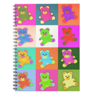 CUTE COLORFUL TEDDY BEAR COLLECTION PATTERN SQUARE SPIRAL NOTEBOOK