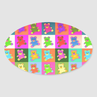 CUTE COLORFUL TEDDY BEAR COLLECTION PATTERN SQUARE OVAL STICKER