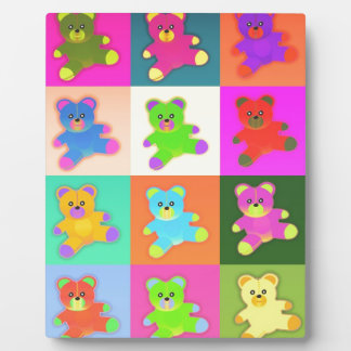 CUTE COLORFUL TEDDY BEAR COLLECTION PATTERN SQUARE PHOTO PLAQUES