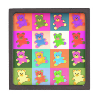 CUTE COLORFUL TEDDY BEAR COLLECTION PATTERN SQUARE PREMIUM KEEPSAKE BOXES