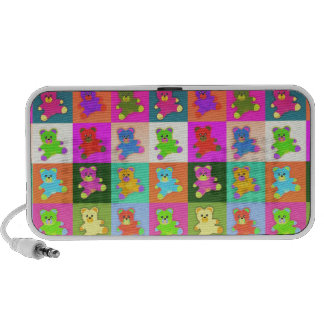 CUTE COLORFUL TEDDY BEAR COLLECTION PATTERN SQUARE MP3 SPEAKER