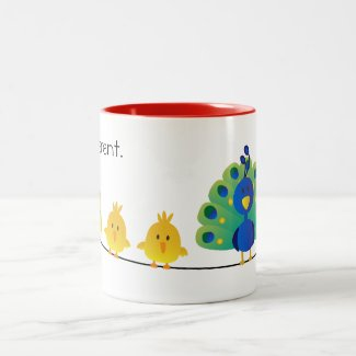 Cute & colorful toon of birds and a peacock mugs