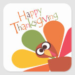 Cute Colorful Turkey Happy Thanksgiving Sticker