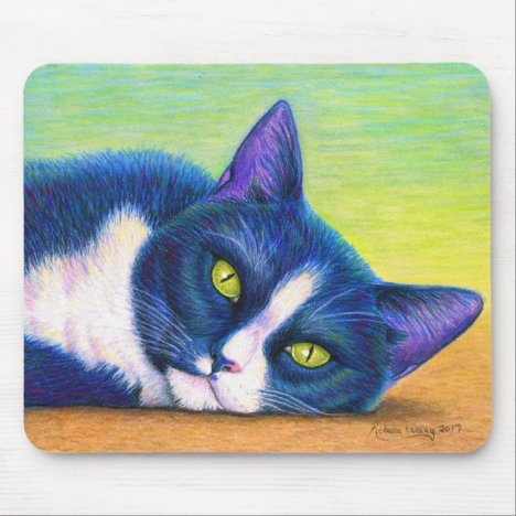 Cute Colorful Tuxedo Cat Mouse Pad