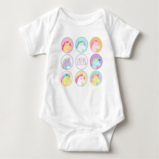 Cute colorful unicorn collection buttons baby bodysuit