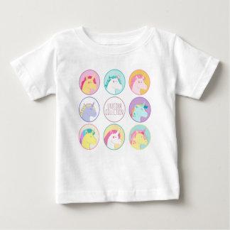 Cute colorful unicorn collection buttons baby T-Shirt