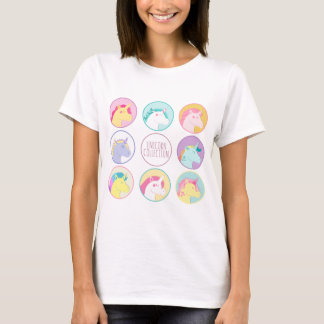 Cute colorful unicorn collection buttons T-Shirt