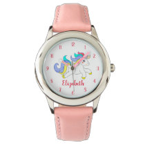 Cute Colorful Unicorn Personalized Kids Watch