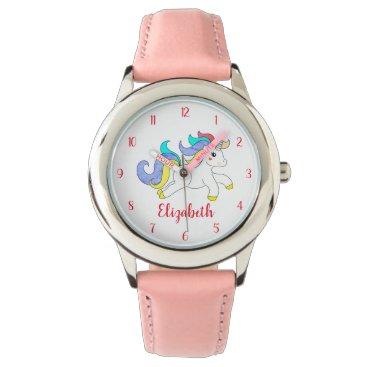 Cute Colorful Unicorn Personalized Kids Watch