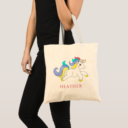 Cute Colorful Unicorn Personalized Name Kids Tote Bag
