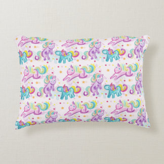 cute colorful unicors accent pillow