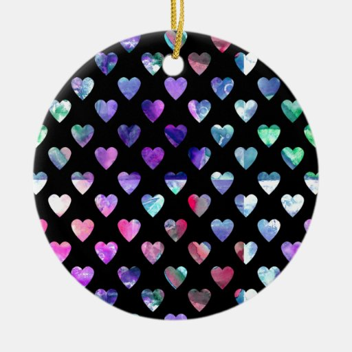 Cute Colorful Watercolor Heart Love Pattern Double-Sided Ceramic Round Christmas Ornament