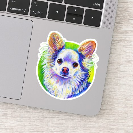 Cute Colorful White Chihuahua Dog Vinyl Sticker