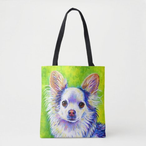 Cute Colorful White Longhaired Chihuahua Tote Bag
