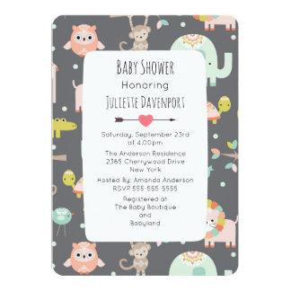 Cute Colorful Wild Animals Baby Shower Invite