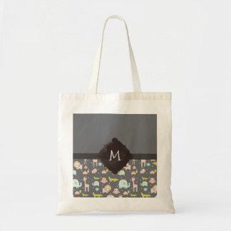 Cute Colorful Wild Animals Nursery Art Monogram Tote Bag