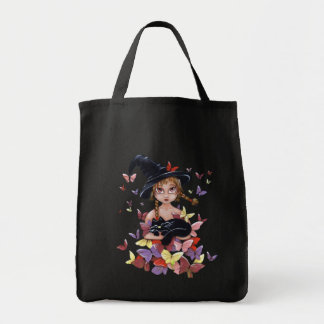 Cute Colorful Witch Grocery Tote Bag