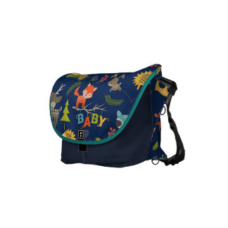 Cute Colorful Woodland Animals 7 Trees Pattern Small Messenger Bag