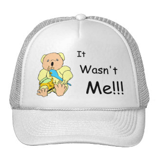 "Cute coloured cartoon bear with ""it wasn't me""text trucker hat"
