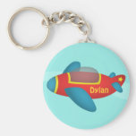Cute Colourful Aeroplane Jet for Kids Basic Round Button Keychain
