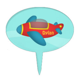 Cute Colourful Aeroplane Jet for Kids Cake Topper