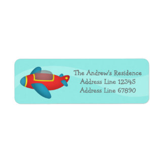 Cute Colourful Aeroplane Jet for Kids Label