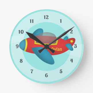 Cute Colourful Aeroplane Jet for Kids Round Clock